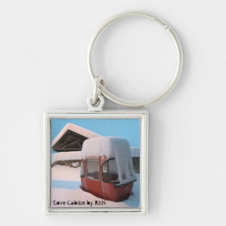 Telpher carrier or Coils Cabin by Swiss artist REN Silver-Colored Square Keychain