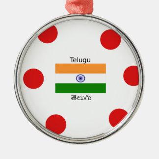 Telugu Language And India Flag Design Metal Ornament