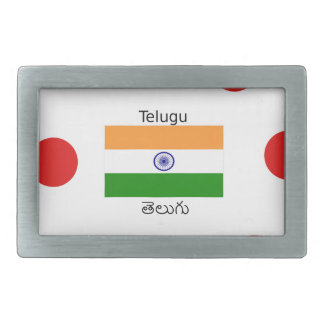 Telugu Language And India Flag Design Rectangular Belt Buckles