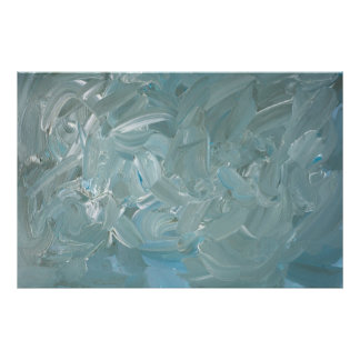 Tempestuous Teal Abstract Expressionist Painting Poster