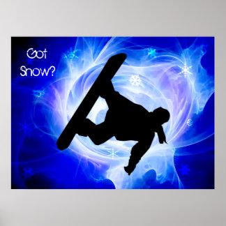 Tempête de neige bleue de remous poster