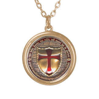 TEMPLAR COIN. GOLD PLATED NECKLACE