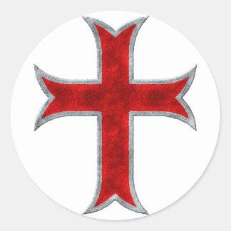 Templar Cross Classic Round Sticker