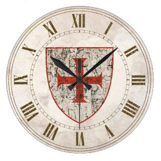 Templar Cross, Distressed Large Clock