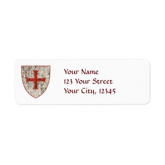 Templar Cross, Distressed Return Address Label