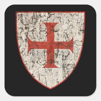 Templar Cross, Distressed Square Sticker