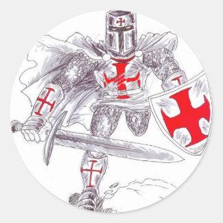 Templar Knight Art Round Sticker