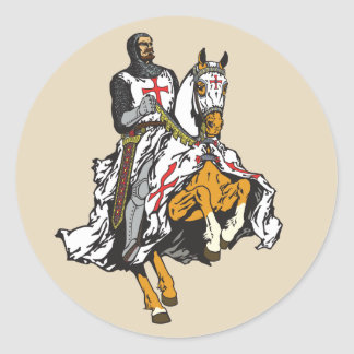 Templar knight classic round sticker