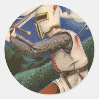 templar knight round sticker