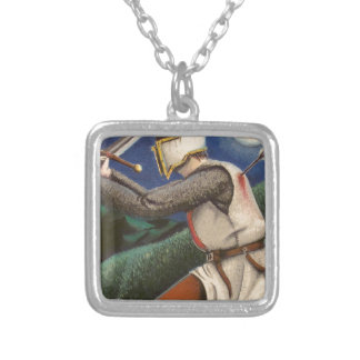 templar knight silver plated necklace