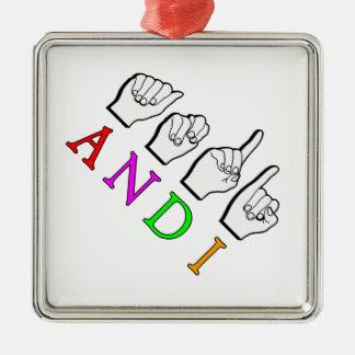 TEMPLATE 8-29-17  FINGERSPELLED ASL NAME SIGN METAL ORNAMENT