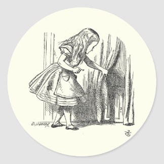 Template Alice Looking for the Door Classic Round Sticker