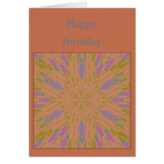Template Birthday Card with light brown burst