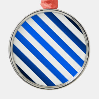 Template ~ Blue Black Stripes ~ Add Picture/Text Silver-Colored Round Ornament