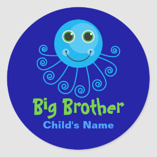Template - Custom Octopus Big Brother Child's Name Round Sticker