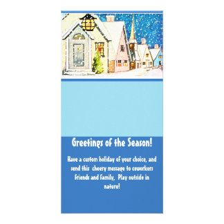 Template Vintage Happy Village Snow Winter Holiday Photo Card