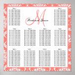 Template Wedding Seating Chart Damask Coral Pink Print
