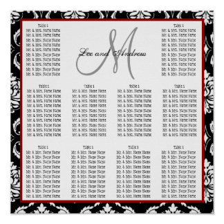 Template Wedding Seating Chart Damask Hot Red