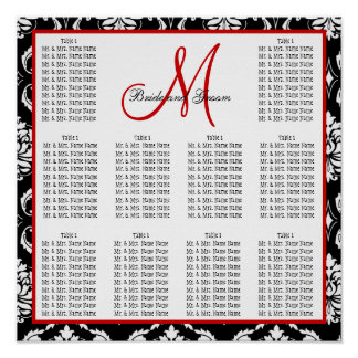Template Wedding Seating Chart Damask Red
