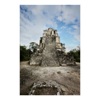 Temple at Muyil archeological site. El Castillo Poster