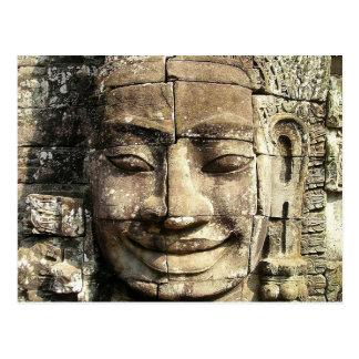 Temple Face, Cambodia Vintage Postcard
