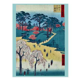 Temple Gardens, Nippori by Andō, Hiroshige Ukiyo-e Postcard