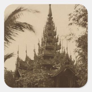 Temple in Mandalay, Burma, late 19th century Square Sticker