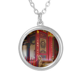 Temple in Yilan, Taiwan Silver Plated Necklace
