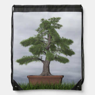 Temple juniper tree bonsai - 3D render Drawstring Bag