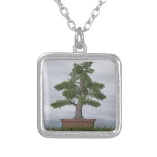 Temple juniper tree bonsai - 3D render Silver Plated Necklace