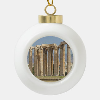 Temple of Olympian Zeus, Athens, Greece Ceramic Ball Christmas Ornament