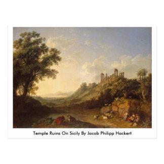 Temple Ruins On Sicily By Jacob Philipp Hackert Postcard