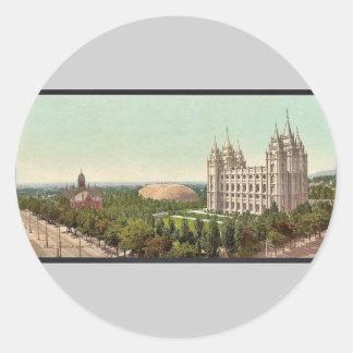 Temple Square, Salt Lake City classic Photochrom Round Sticker
