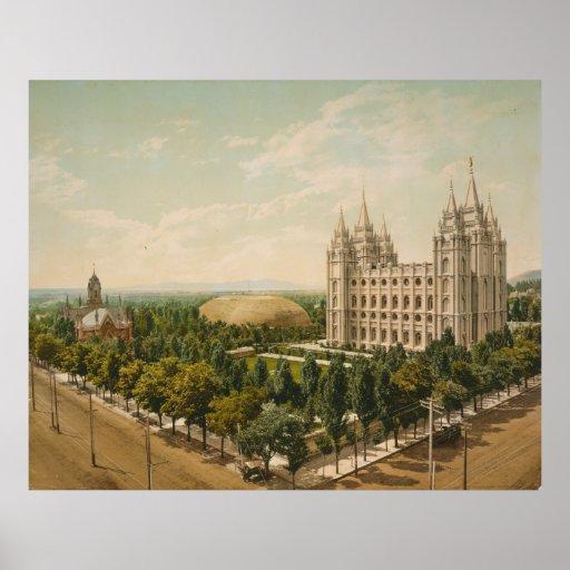 Temple Square Salt Lake City Utah in 1899 Print