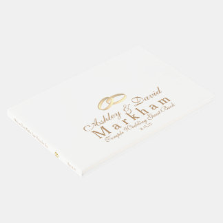 Temple Wedding Guest Book-White with Gold Rings Guest Book