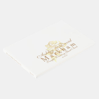 Temple Wedding Guest Book-White with Golden Rose Guest Book