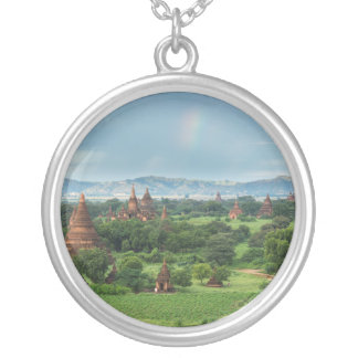 Temples in Bagan, Myanmar Silver Plated Necklace