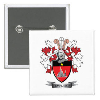 Templeton Family Crest Coat of Arms 2 Inch Square Button