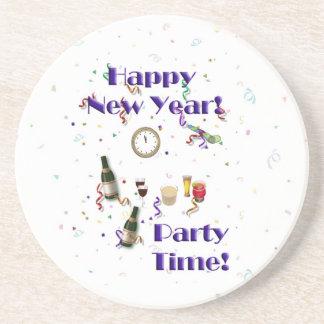 Temps de partie de nouvelle année heureuse ! dessous de verres