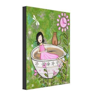 Temps de thé - Bath de chat de 16x20 Kitty badine Toiles