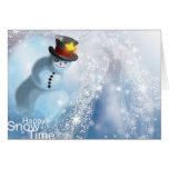 Temps heureux de neige carte de vœux