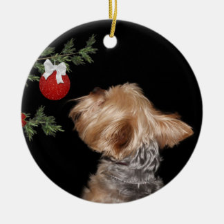 Tempted Yorkie Christmas Ceramic Ornament