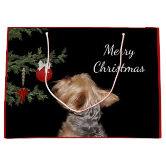 Tempted Yorkie Christmas Large Gift Bag
