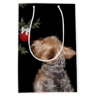 Tempted Yorkie Christmas Medium Gift Bag