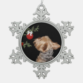 Tempted Yorkie Christmas Snowflake Pewter Christmas Ornament