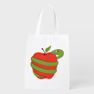 Tempting apple with a snake. reusable grocery bag