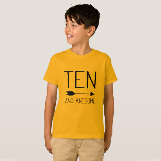 Ten And Awesome 10th Birthday Gift T-Shirt (Light)