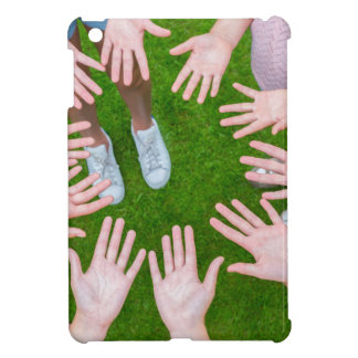 Ten arms of children in circle with palms of hands case for the iPad mini