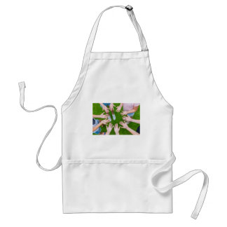 Ten arms of children in circle with palms of hands standard apron