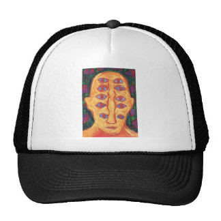 Ten Blue Eyes (odd expressionism surreal portrait) Trucker Hat